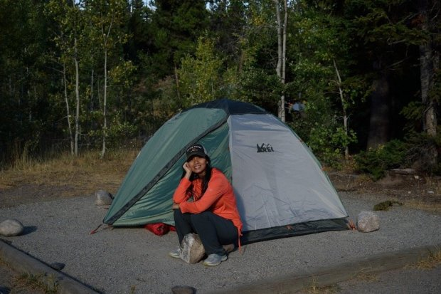 Linda with Tent