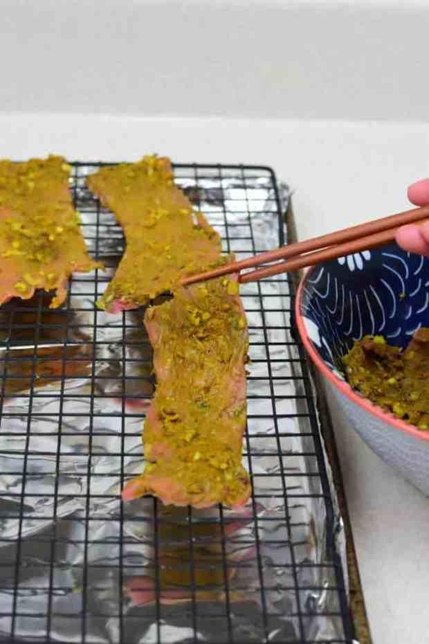 Vietnamese Jerky on Baking Sheet
