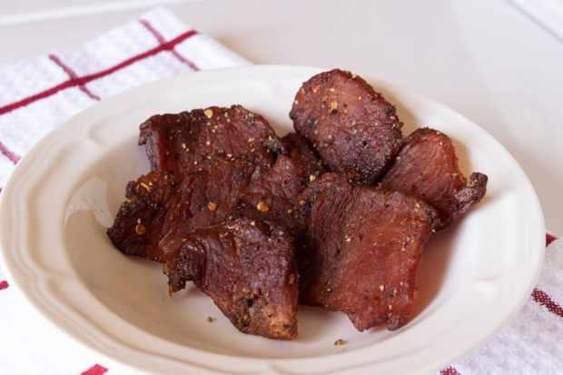 Pork jerky in a bowl