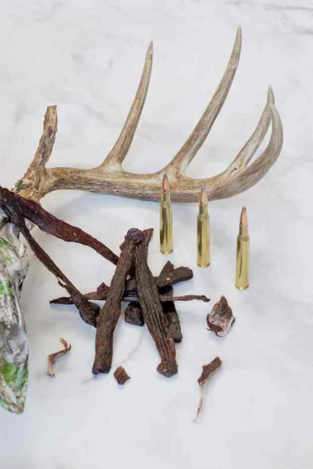 Deer jerky with skull and bullets
