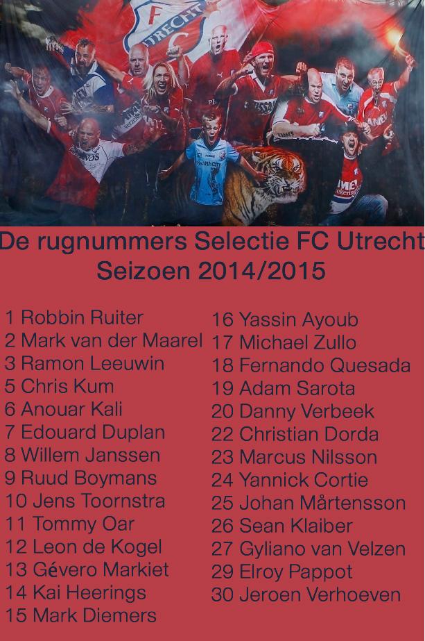 selectie nummers FC Utrecht Jeroen verhoeven