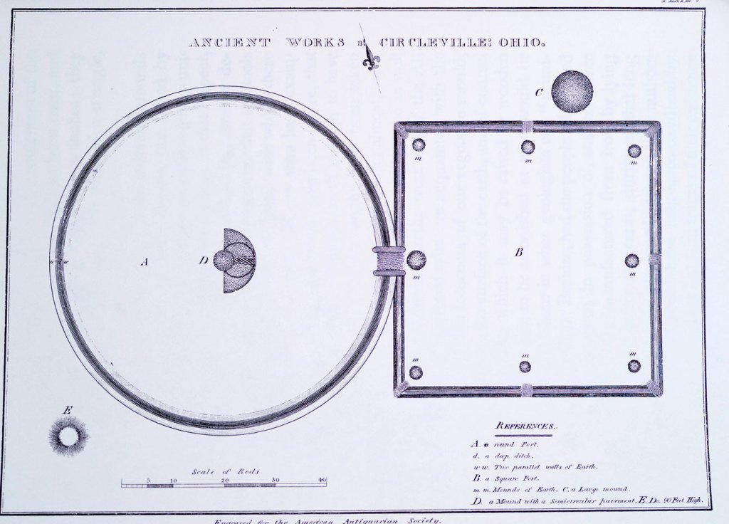 Figure 2. Caleb Atwater's map of the Circleville Work published in 1820 in his book: Antiquities Discovered in the Western States. His map is highly detailed and several of the salient features are described fully in the text of the book. Atwater showed two elongated mounds serving as walls along the avenue connecting the circle and square parts of the Work rather than the low walls utilized in many of the other conjoined earthworks in Ohio. The Jones/Irwine map of 1772 did not show such a feature.