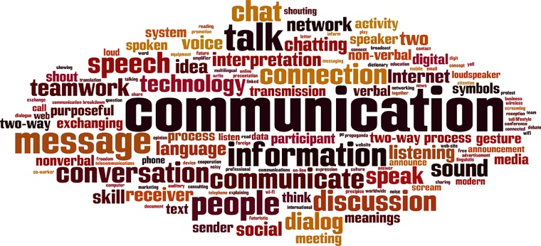 Communication word cloud concept. Vector illustration on white