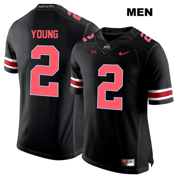 Mens Ohio State Buckeyes Authentic Nike #2 Chase Young Stitched Black Red Font College Football Jersey