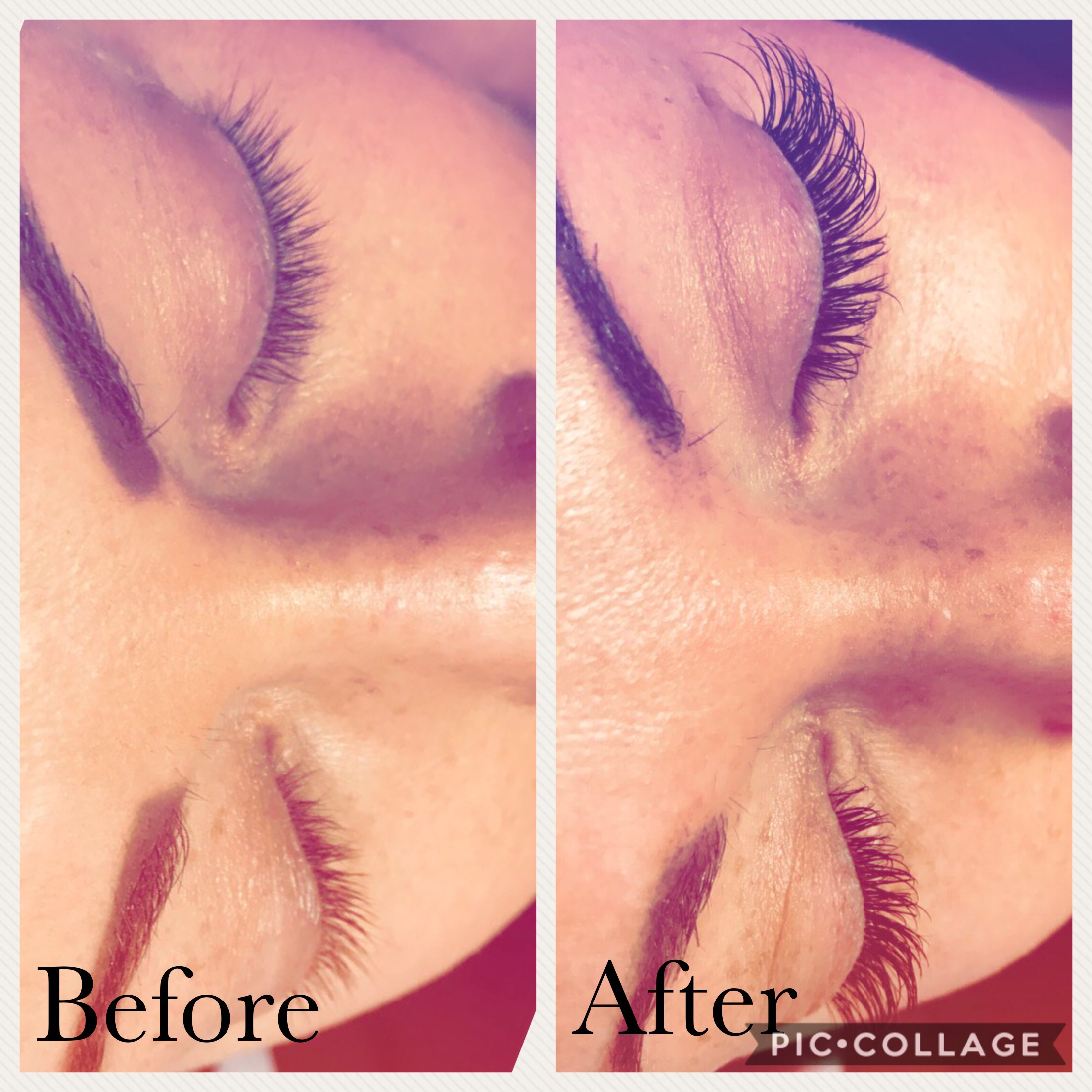 before and after photo of eyelash extensions