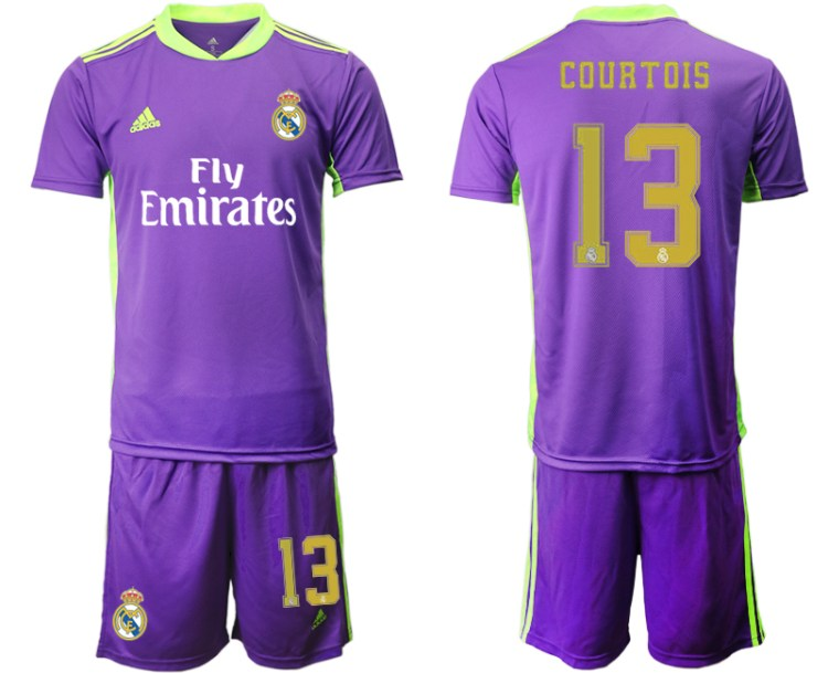 Men 2020-2021 club Real Madrid purple goalkeeper 13 Soccer ...