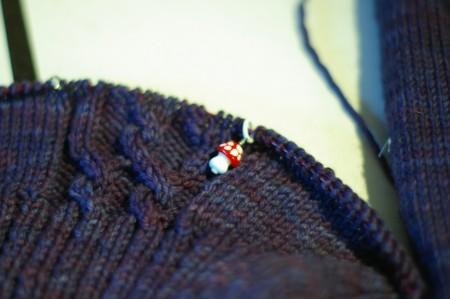 Knitting Olympics Progress 02-14-10 - stitch markers