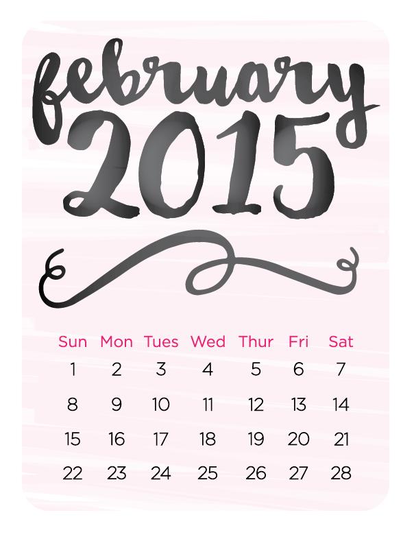 February 2015 watercolor calendar