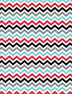 Teal, Red, Black, White Chevron paper