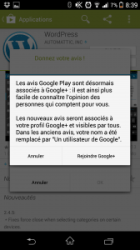 Android xPeria Z1 - Avis sur le Play Store = Google+