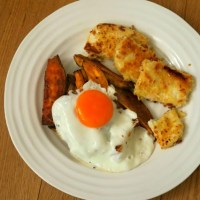 Crispy, Breaded Halloumi + Sweet Potato Fries