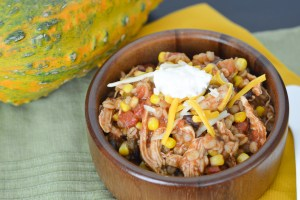 This warm and comforting Chicken Barley Chili is quick and easy to throw together. The barley adds something a little unique and jarred salsa is a quick shortcut for lots of flavor!