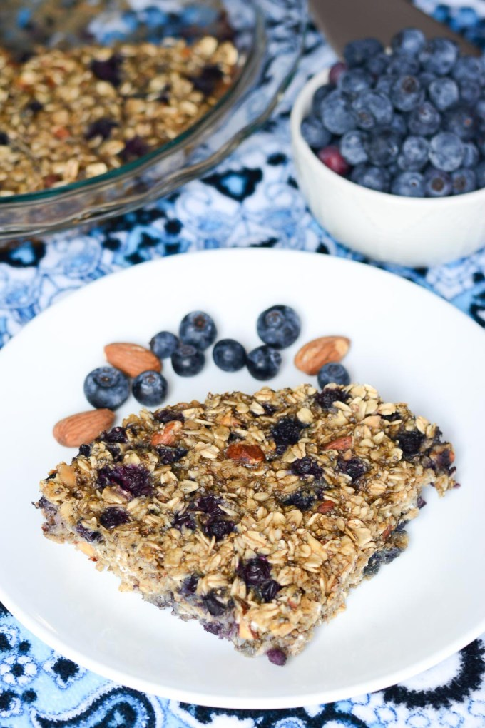 This Blueberry Muffin Baked Oatmeal is a great make-ahead breakfast that's easy to meal prep. Packed with fiber and healthy fats, it will keep you full all morning!