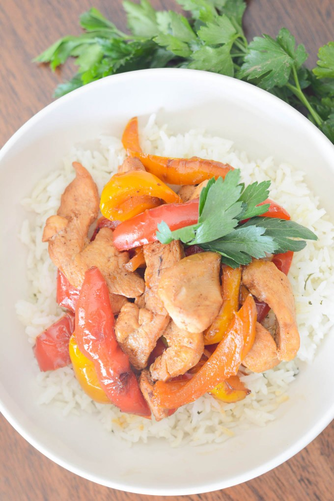 This Stir-Fried Honey-Ginger Chicken with Peppers is an easy weeknight meal that comes together quickly with only a few ingredients. It's simple but the sweet sauce makes it extra delicious.