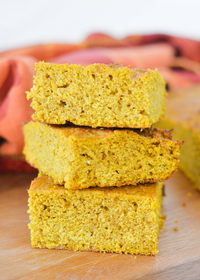 This Pumpkin Corn Bread is a perfect fall breakfast, topped with a little butter and honey. It's also great paired with chili-- an autumn favorite!