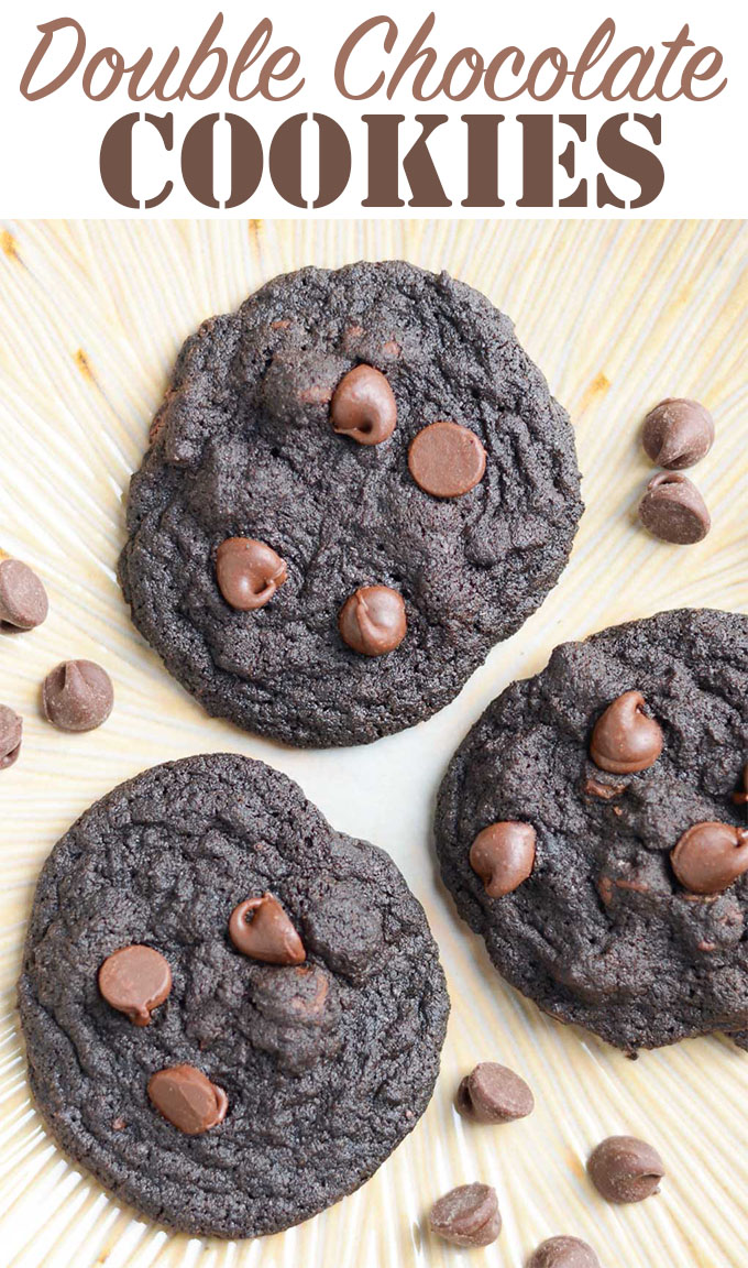 These Double Chocolate Cookies are perfect for the chocolate lover in your life. They're packed with cocoa powder and chocolate chips, making them dark, decadent and delicious!