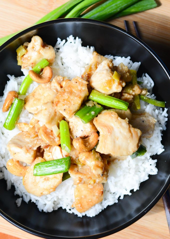 This Cashew Chicken is an easy Asian dish that you can make at home faster than you can order takeout. It's delicious served over rice and perfect for leftovers.