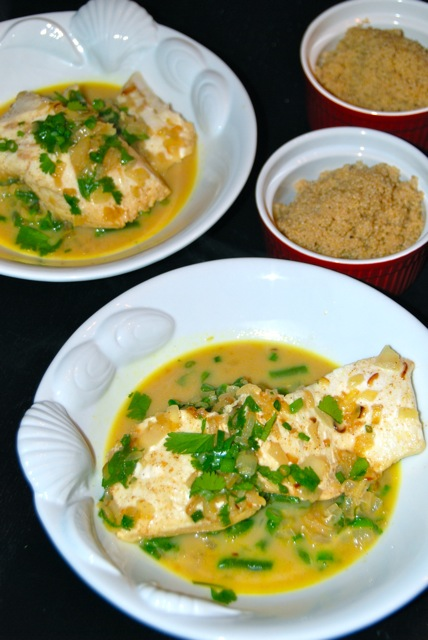 Thai-Style Halibut with Coconut Curry Broth