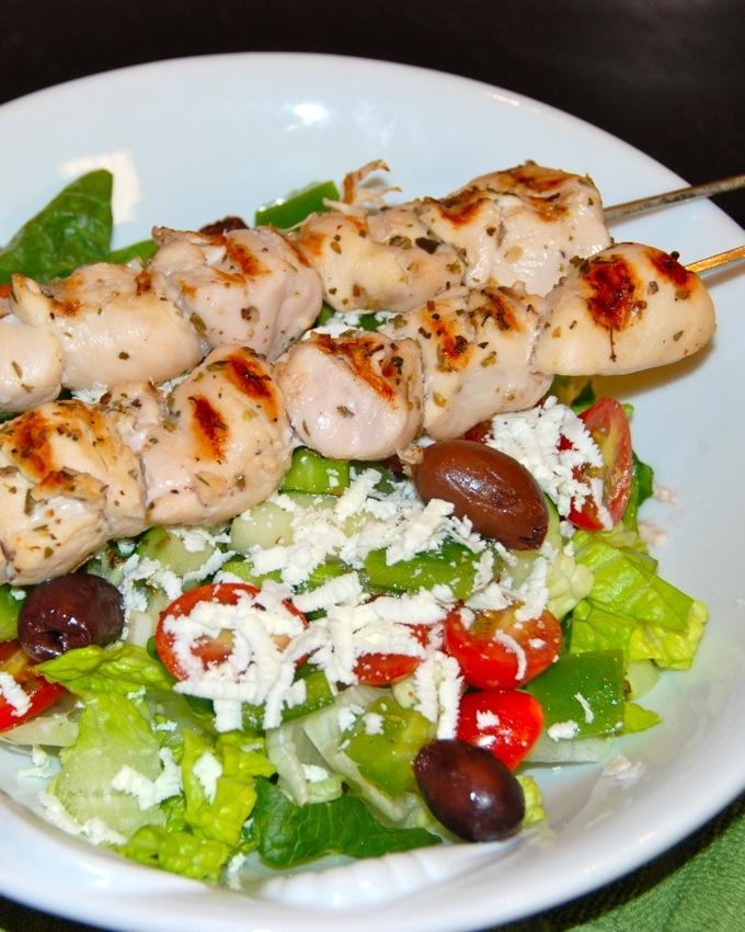 Mediterranean Chicken Kabob Salad