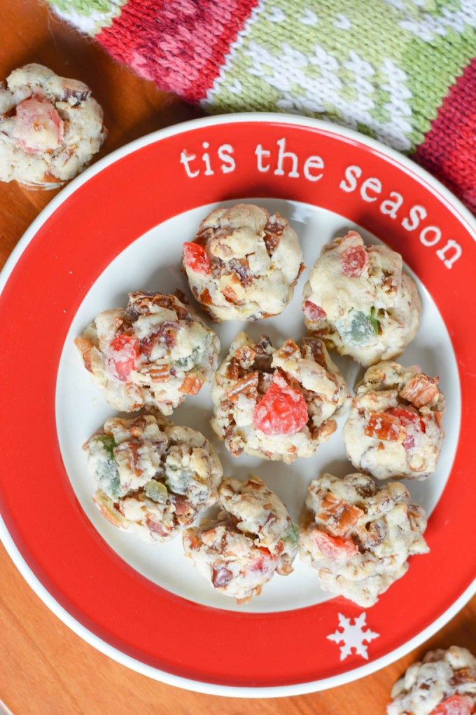 These Fruitcake Cookies are a fun twist on a holiday classic! Filled with fruit and nuts, they are always a hit!