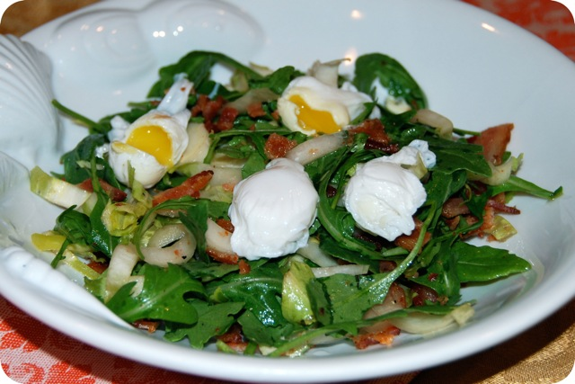 Arugula Salad with Bacon and Poached Quail Egg