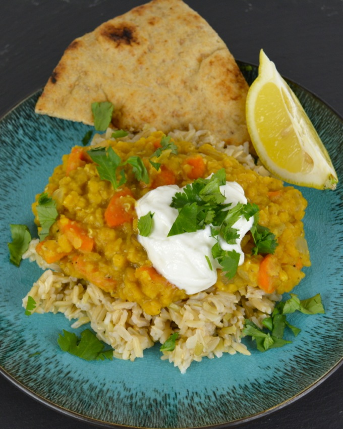Spiced Lentil Dal with Cilantro Yogurt