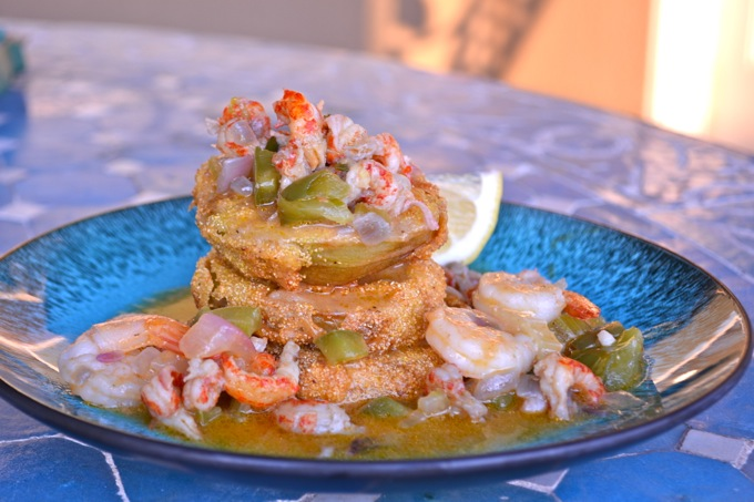 Fried Green Tomatoes with Shrimp & Crawfish Etouffee Sauce