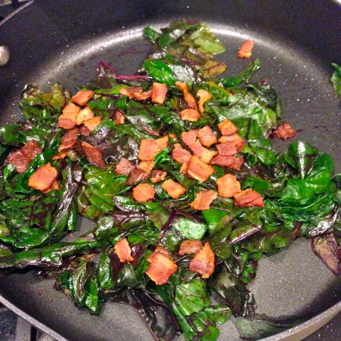 Beet Greens Cooked in Bacon Fat