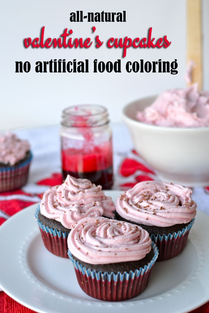 All Natural Valentine's Day Cupcakes with no artificial food coloring