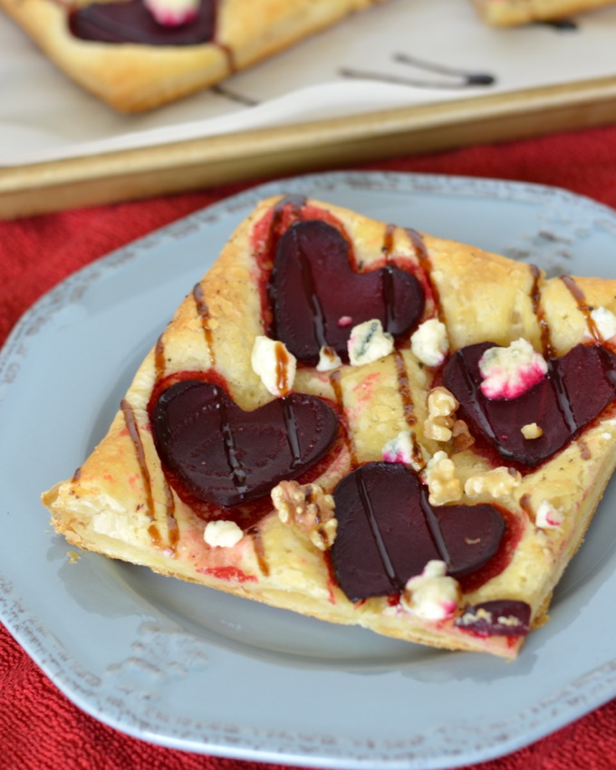 Beet and Blue Cheese Tart with Walnuts and Balsamic Glaze