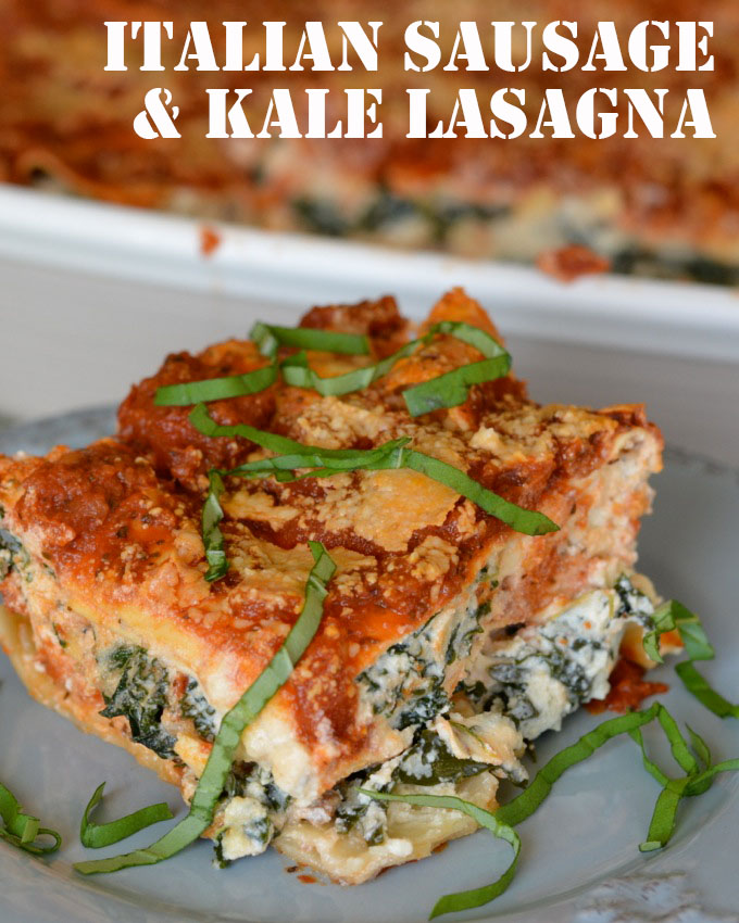 This Italian Sausage and Kale Lasagna is the best kind of comfort food, packed with fresh kale, creamy ricotta and flavorful sausage!