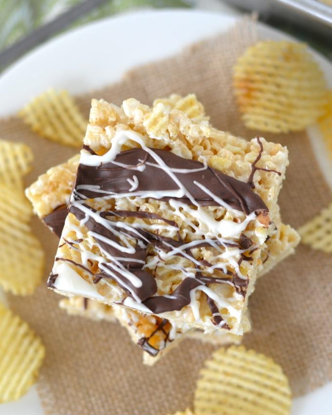 Chocolate Covered Potato Chip Crispy Treats