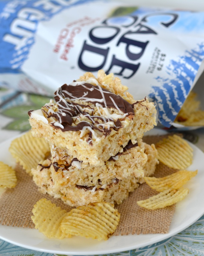 Chocolate Covered Potato Chip Crispy Treats