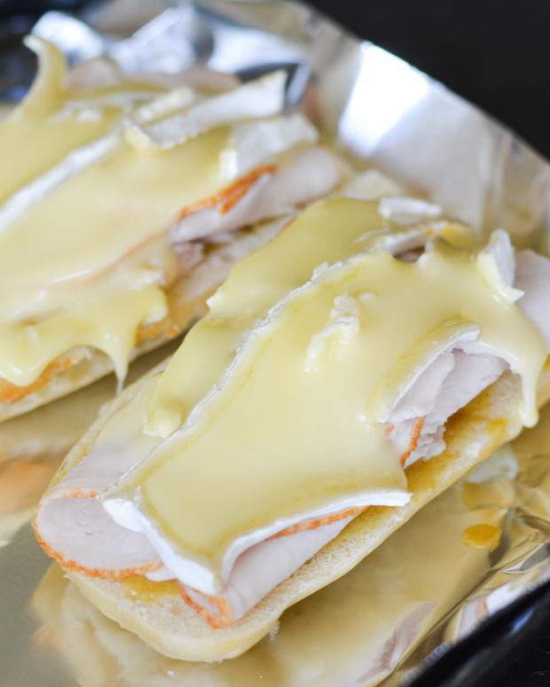 Warm Turkey, Brie and Fresh Peach Baguettes