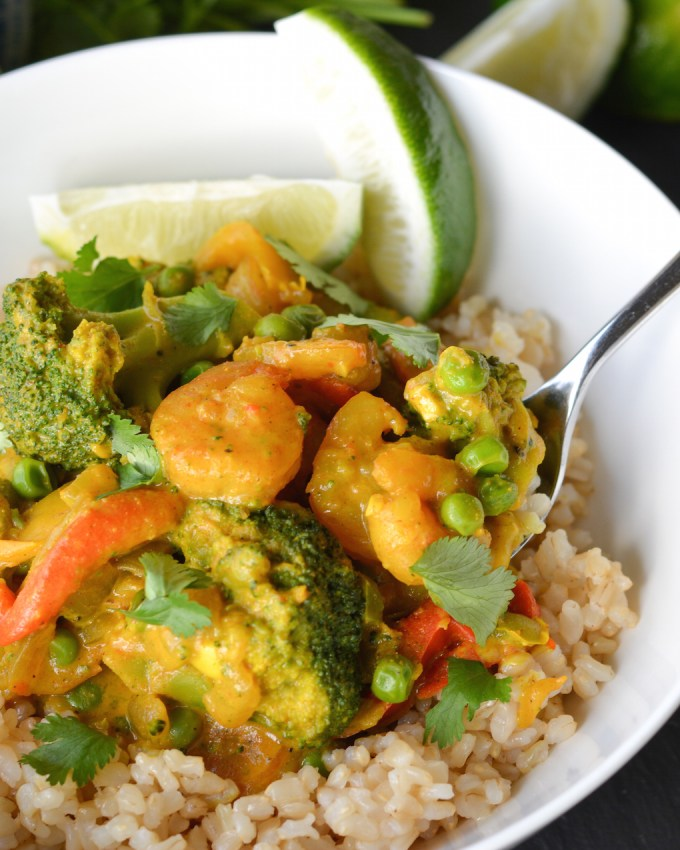 Coconut Curry with Shrimp and Veggies