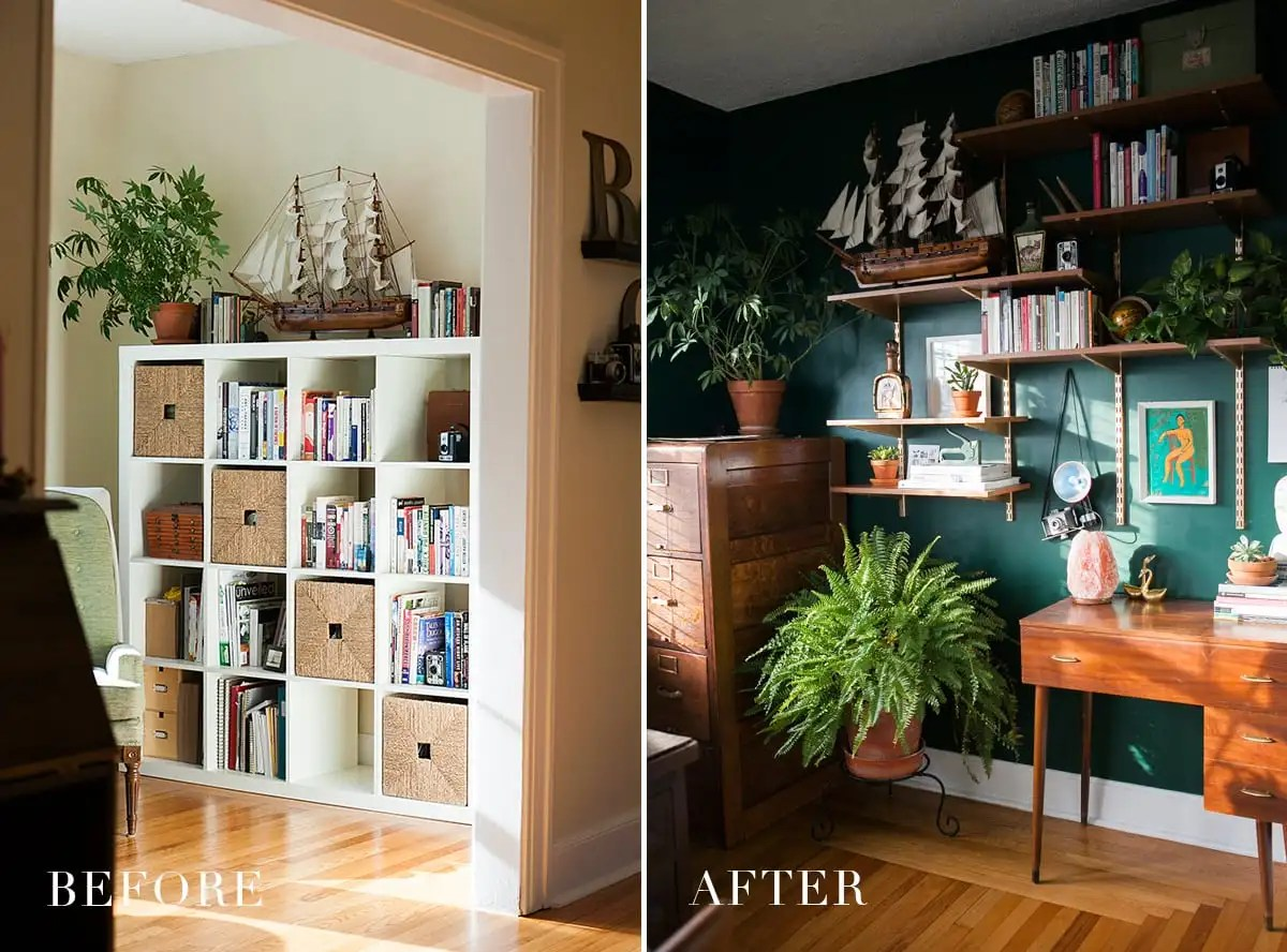 hunter green home office - emerald green office space - jessica brigham blog - home office decor ideas - boho office space - before and after