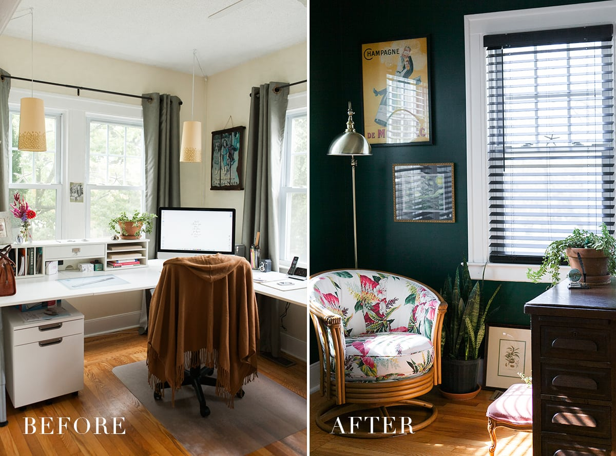 green home office Before & After: Hunter Green Home Office » Jessica Brigham