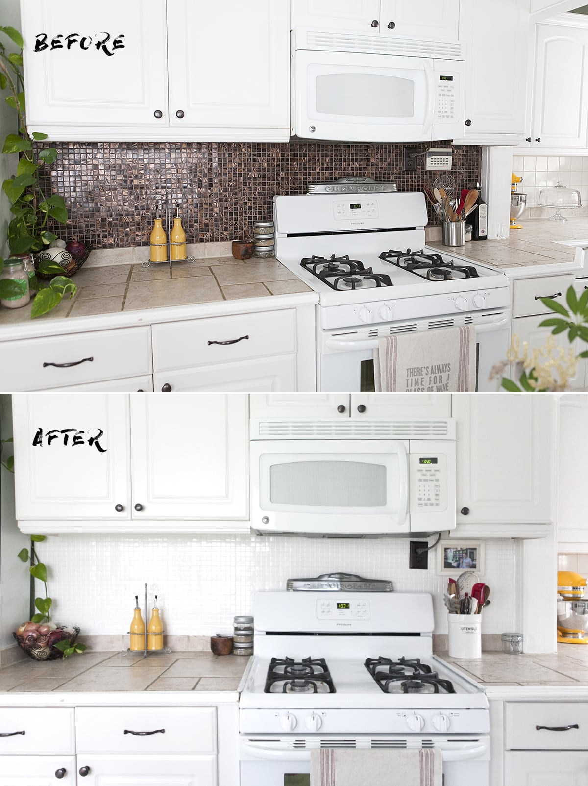 How To Paint A Tile Backsplash, Update Kitchen Backsplash Quickly, Epoxy  Paint Ceramic Tile