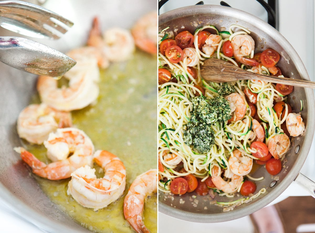 garlic-lemon-shrimp-pesto-zoodles-zucchini-noodle-pasta-healthy-eating-paderno-spiralizer-jessica-brigham