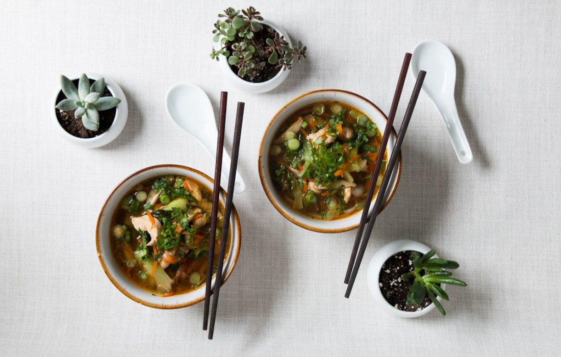 Thai Chicken Noodle Soup with Homemade Pork Stock
