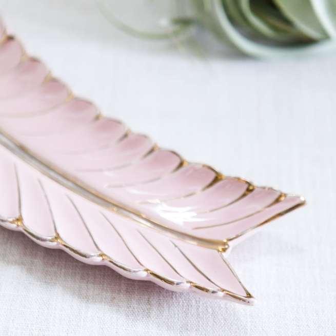 mid century pink leaf dish   jessica brigham