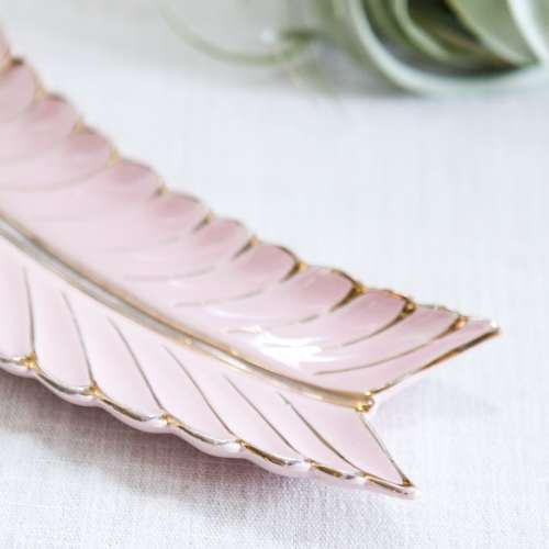 mid century pink leaf dish | jessica brigham