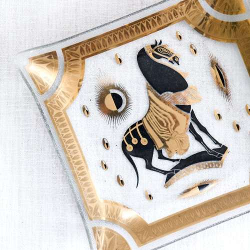 Vintage Mid Century Fred Press Glass Tray | Gold Trojan Horse | Hollywood Regency | Jessica Brigham