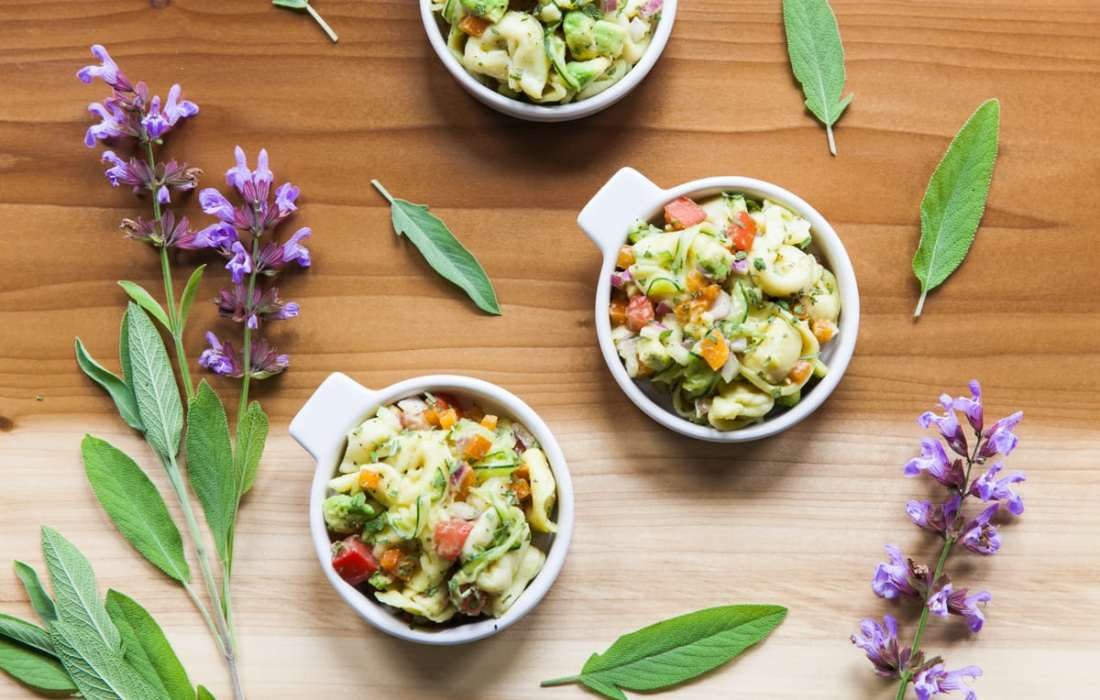 Tortellini Salad with Avocado, Veggies + Fresh Sage