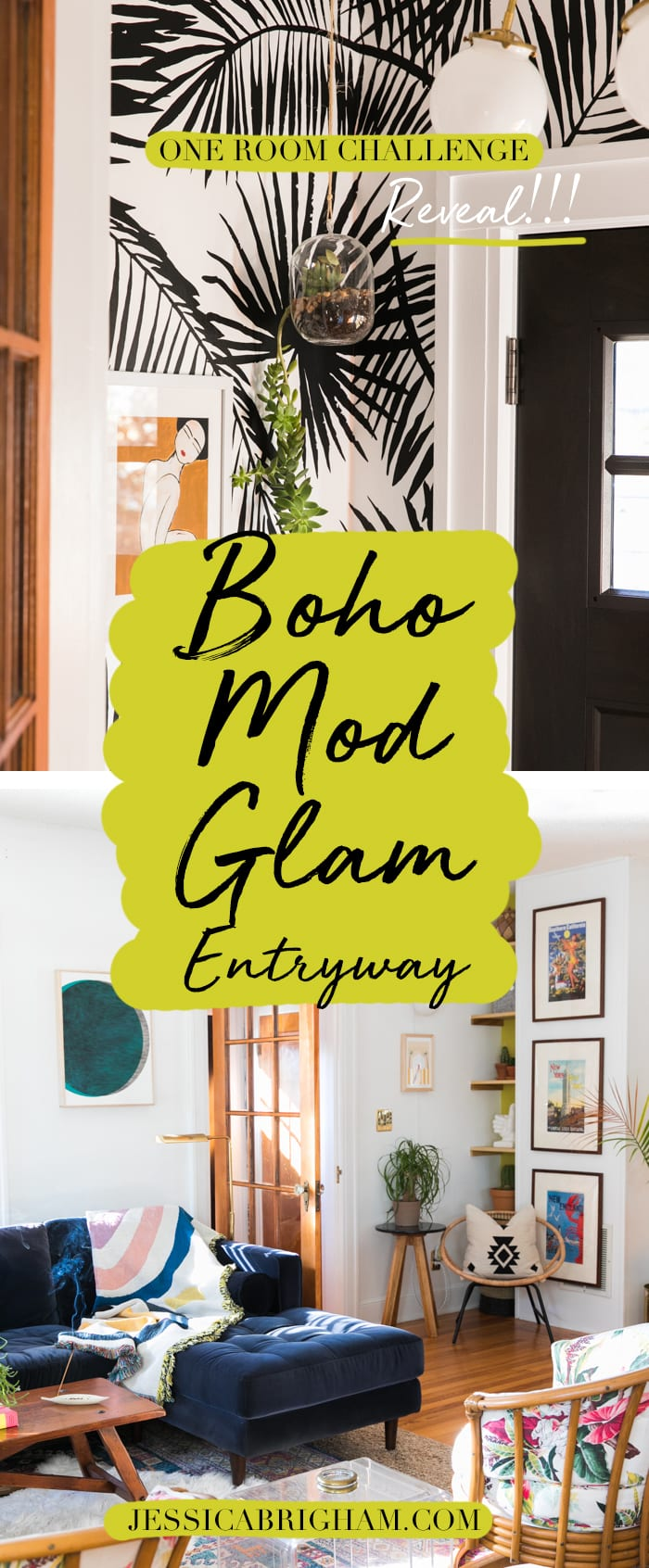 Boho Mod Glam Entryway | One Room Challenge | THE REVEAL | Jessica Brigham | Magazine Ready for Life | Coloray Wallpaper | Pepe & Carols | Well Woven Rugs | Depeapa | Heather Felder Art