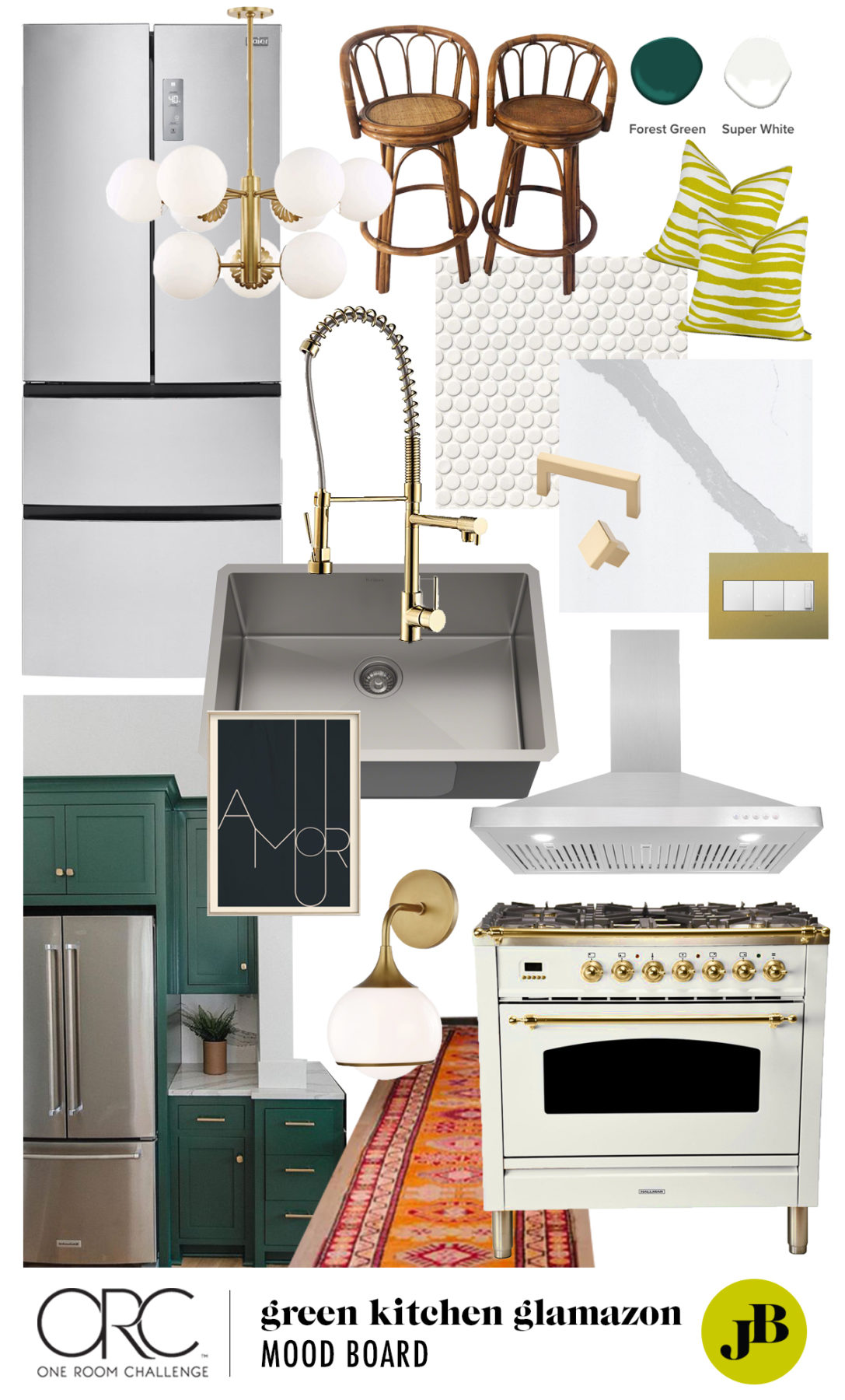 One Room Challenge | Green Kitchen Glamazon | Kitchen Mood Board | Open Kitchen Design | Kitchen Renovation | Jessica Brigham | Magazine Ready for Life | www.jessicabrigham.com
