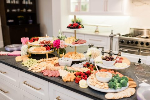 Cute Pink Baby Shower Ideas featured by top Houston lifestyle blogger and expecting mom, Jessica Crum. | Pink Baby Shower by popular Houston motherhood blogger, Jessica Crum: image of charcuterie board by Event Seven.