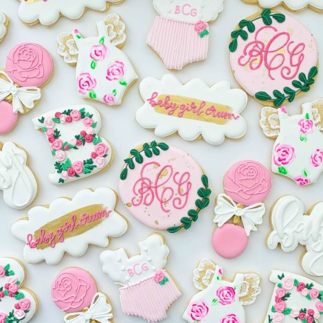 Cute Pink Baby Shower Ideas featured by top Houston lifestyle blogger and expecting mom, Jessica Crum.   Pink Baby Shower by popular Houston motherhood blogger, Jessica Crum: image of pink baby shower cookies by Sugar Baby Cookies.