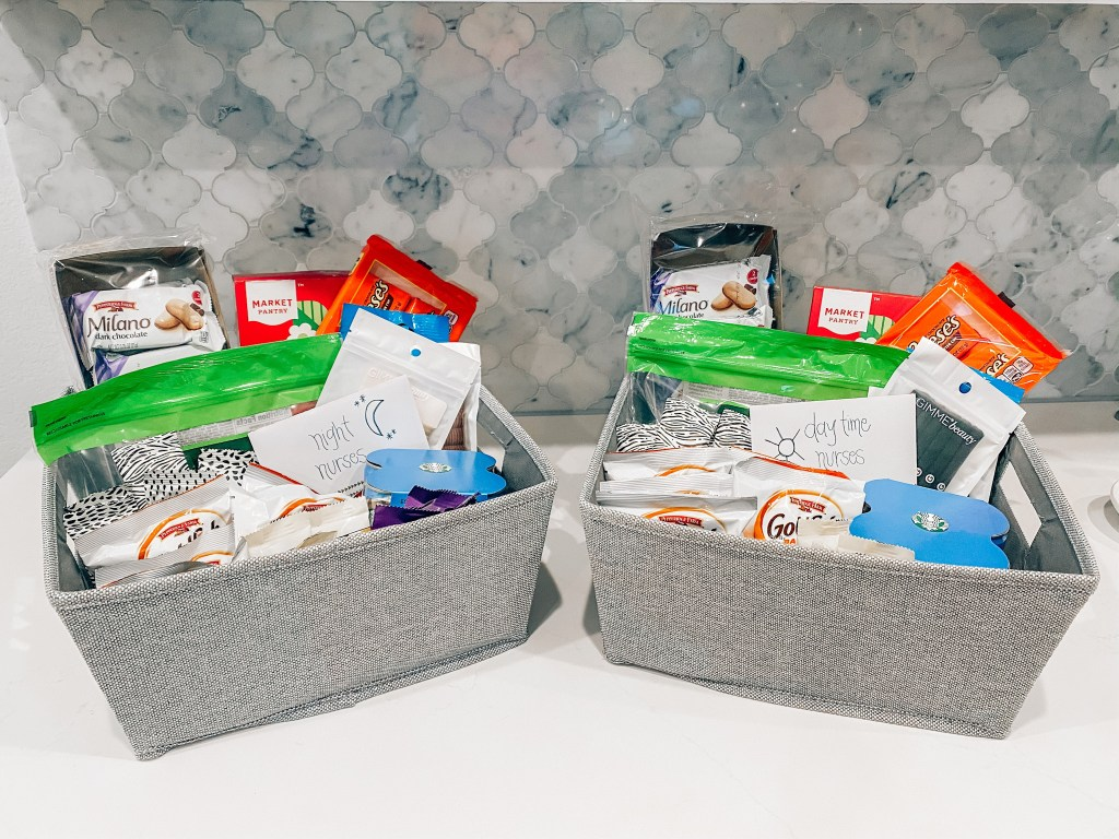 Hospital Bag by popular Houston motherhood blogger, Jessica Crum: image of 2 grey bins containing Goldfish crackers, Reese's Peanut Butter Cups, Starbuck's, and Milano Cookies.