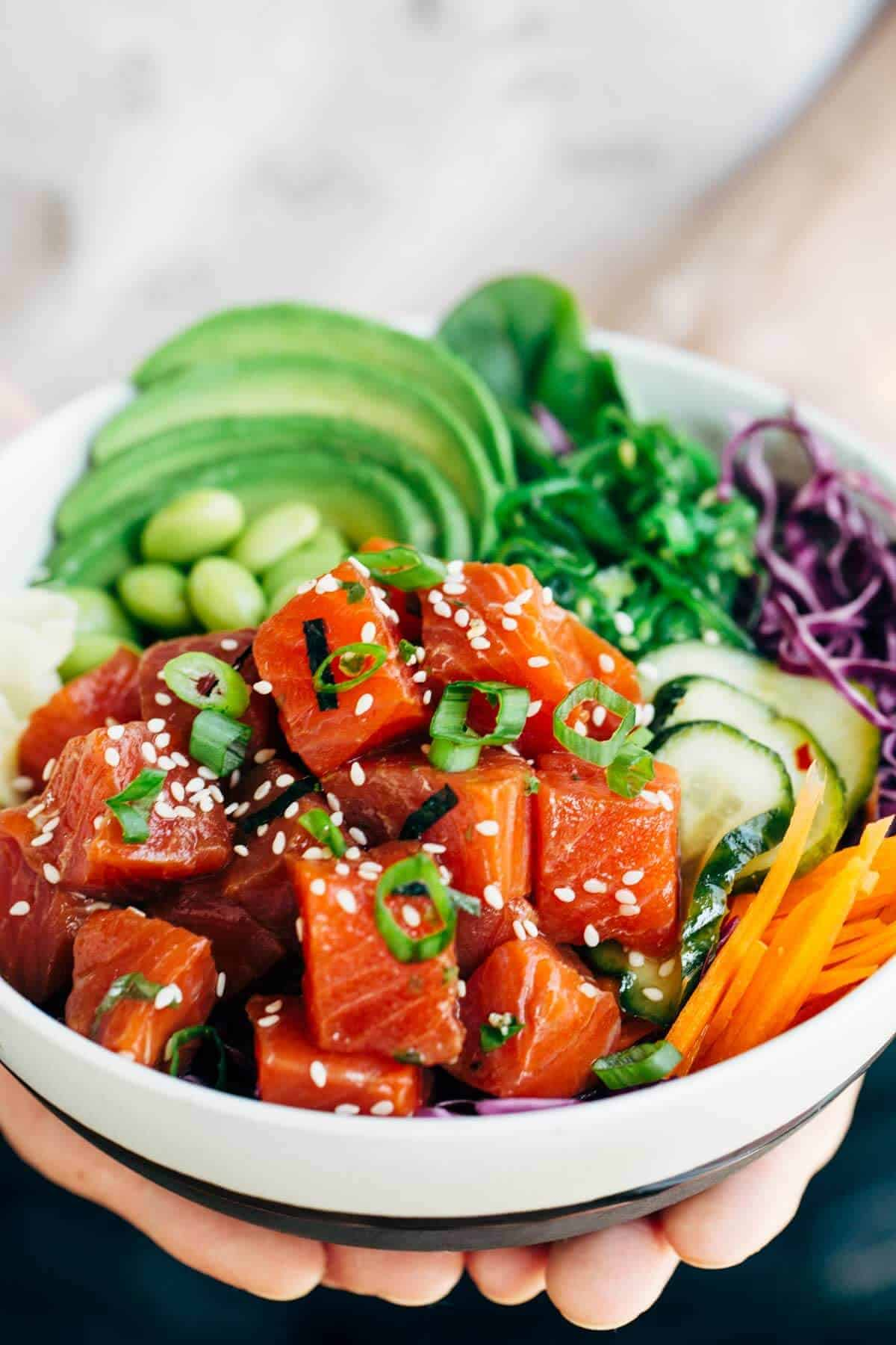 Spicy Wild Alaska Sockeye Salmon Poke Bowl Recipe